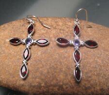 Sterling silver cut garnet & iolite cross gemstone earrings. Gift bag.