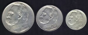 1934 1935 1936 POLAND 10,5,2 ZLOTYCH Jozef Pilsudski SILVER COINS  Y # 27,28,29