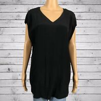 Chico's V-neck Dolman Sleeve Tunic Shirt Top 2 LARGE 12 14 Shiny Black Rayon