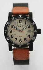Life Watch Mens Date Stainless Black Nylon Brown Leather 50m 24hr Beige Quartz