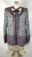 Lucky Brand Size XS Top Long Sleeve Tie Neck Semi Sheer BOHO Peasant Gypsy B7-3