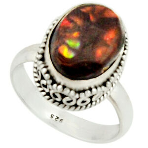 6.58cts Natural Mexican Fire Agate 925 Silver Solitaire Ring Size 8.5 R22035