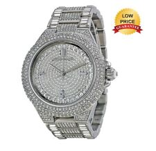 NEW MICHAEL KORS MK5869 CAMILLE SILVER TONE PAVE CRYSTAL GLITZ DIAL WOMENS WATCH