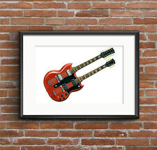 Jimmy Page's Gibson EDS-1275 Guitar - POSTER PRINT A1 size
