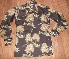 vtg 70s mens shirt Rappers big collar fall tree print size S long sleeve slinky