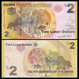 Silver Reserve Australia 2 Lunar Dollars, 2016, UNC>Monkey