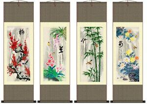 Chinese Silk Scrolls 4 Seasons Flower Small Wall Hanging Prints