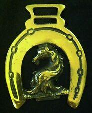 Antique HERALDIC HORSE HEAD IN HORSESHOE Double Hanger Harness Horse Brass Nice!
