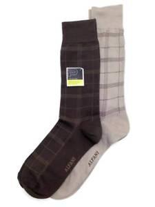 $34 Alfani Men 2 Pairs Pack Dress Casual Crew Socks Brown Beige Stripe Shoe 7-12