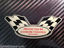 STICKER PROTECTED BY EXTREME VIOLENCE ANGELS 666 HELLS BIKER CHEQUERED FLAGS