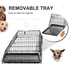 🐶PawHut Dogs Metal Collapsible Medium Transport Crate w/ Removable Tray Black🐶