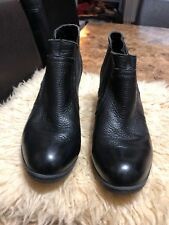 Born Chelsea Ankle Boots BOC- Slip On Leather Booties Heels Black Womens Sz 8.5
