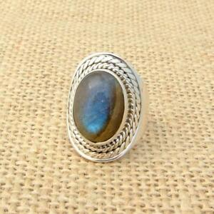 Labradorite 925 Silver Ring UK Size N 1/2-US Size 7 Ethnic Jewellery Wide Band