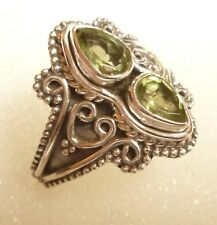 925 Sterling Silver Genuine Faceted Peridot Ring Size M (US 6 1/4)
