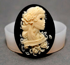 Lady Skull - SILICONE FLEXIBLE PUSH MOLD POLYMER CLAY FIMO MOULD BAKEABLE