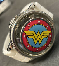 Collectable Wonder Woman TM & DC Comics Watch White Band SS Case Back Running