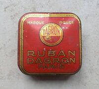 Vintage tin box advertising Ruban DAGRON Typewriter ribbon red Paris France