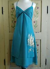 Mex Womens 6 Sun Dress 100% Silk Spaghetti Strap Slip Empire Waist Blue