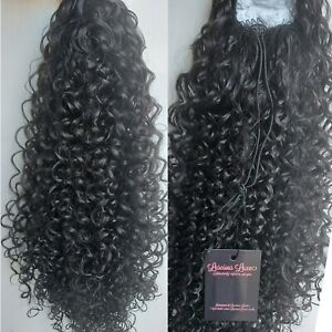 """Very Dark Brown #4 curly afro 24"""" long drawstring ponytail hair extension piece"""