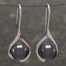 Solid Silver .925 Wave Shape; Black Freshwater cultured pearl Hook Earrings TPJ