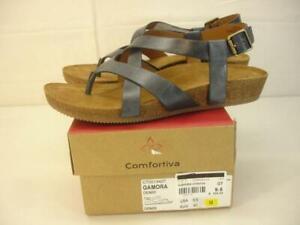 Women's 9.5 M Comfortiva Gamora Denim Blue Leather Sandals Slingback Thong Wedge