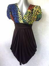 """A to Z"" Animal Print Bodice with Black Skirt, Baggy Hip Style V-Neck Sz S - 10"