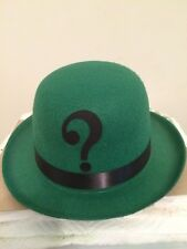 RIDDLER inspired Green Felt Derby Bowler HAT Cosplay Comic Con Halloween  costume 704ba954571d