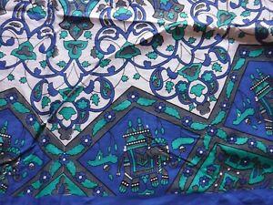 Large Indian Cotton Throw, Turquoise, Blue, White & Grey, Elephants 196 x 133cm