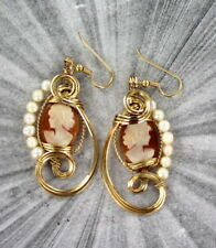 163168467 VINTAGE SHELL CAMEO EARRINGS 14KT ROLLED GOLD WIRE WRAPPED - hand carved  pearls