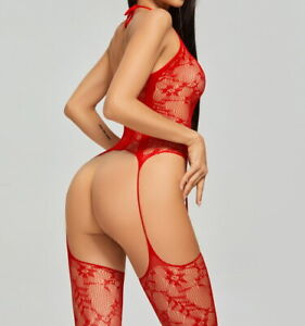 Women Body Stockings Floral Lace Lingerie Lace up Tights Underwear Red 89721