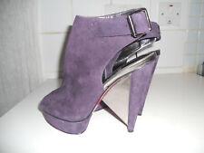 Paris Hilton High Heal Platform Peep Toe Shoes Purple Suede Silver Wedge UK6