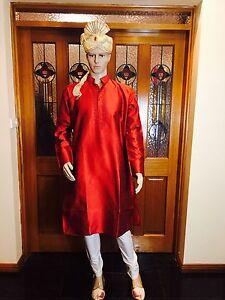 "36"" XSmall Silk Sherwani Suit Indian Bollywood Mens Kurta Maroon Burgundy KT8"