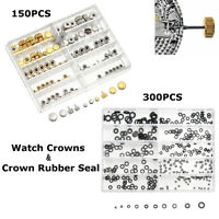 Watch Crowns Watch Crown O Ring Rubber Seal Mixed Gold Silver Spares Repair Tool