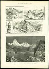 1888 - Antique Print TIBET Sikkim Frontier War YAKLA PASS Gnatong Military (309)