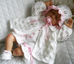 Baby Girls Knitting Pattern Dk Reborn Doll Matinee Coat Pants Hat Shoes 0-3 Mth