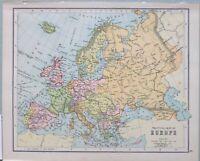 1898 Landkarte Europa Britische Inseln Spanien Preußen Türkei Ungarn Russland