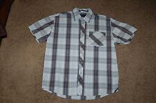 GUC Men's SouthPole Black White Plaid Button Down SS Shirt Large Nice LQQK FS