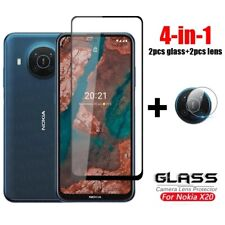 4-in-1 For Nokia X20 Camera Lens Soft Film + 9H Tempered Glass Screen Protector