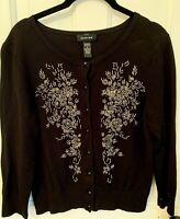 Vintage Cardigan Sweater Beautifully Beaded Black w/ Silver Rayon Nylon Size M