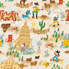 Fabric Western Texas Themed on Tan Cotton by the 1/4 yard BIN