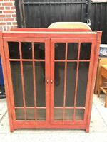 Antique Stickley ? Speckled Painted Wood Glass Doors China Cabinet Bookcase