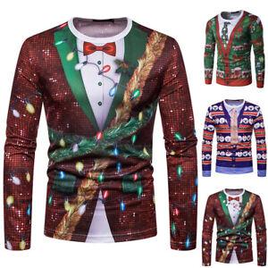 Mens 3D Christmas Print Long Sleeve Novelty T-Shirt Festival Casual Blouse Tops