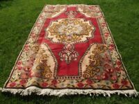 Vintage Turkish Oushak Carpet 4x8 Red Hand Knotted Low Pile Wool Large Area Rug