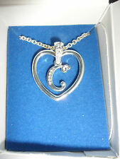 "AVON silver plated ""C"" pendant necklace. NEW."