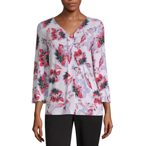 Liz Claiborne V Neck 3/4 Sleeve Knit Blouse Size S, XL New Clear Pink Floral