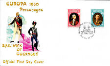 GUERNSEY F.D.C. 6/5/1980 SG 212/3 EUROPA PERSONALITIES; BIOGRAPHICAL INSERT.