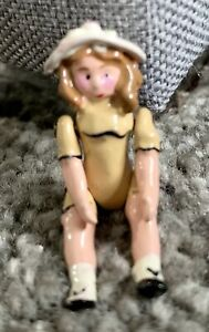 """Dollhouse Miniatures ~ Warwick Miniatures UK Painted & Jointed Girl Doll 1.5"""" NR"""