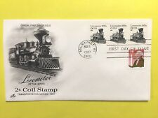 1987 USPS#1897a Locomotive, Coil of 3, Plate number FDC, Artcraft cachet