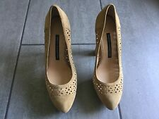 French Connection Ladies Suede Beige Heeled Shoes Size 39/6 Great Condition.
