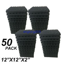 """50 Pack 2"""" X 12"""" X 12""""  Acoustic Studio Soundproofing Egg Crate Foam Wall Tiles"""